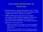 assessment and questions for discussion