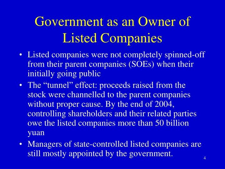 Government as an Owner of Listed Companies
