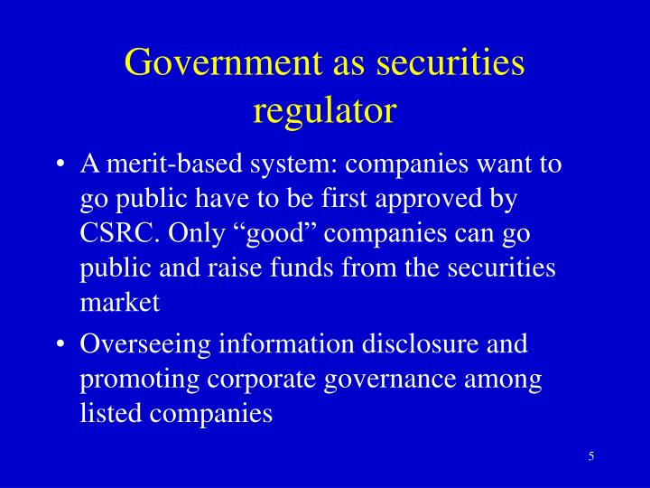Government as securities regulator