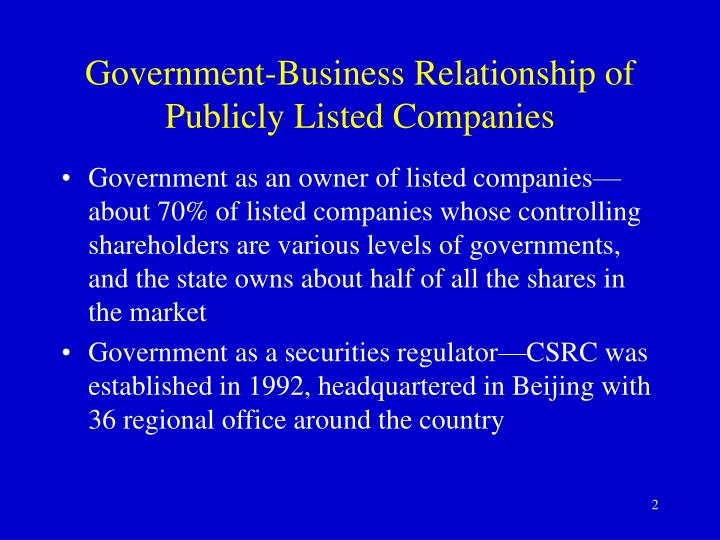 Government-Business Relationship of Publicly Listed Companies
