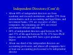 independent directors cont d