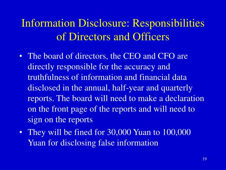 Information Disclosure: Responsibilities of Directors and Officers