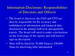 information disclosure responsibilities of directors and officers