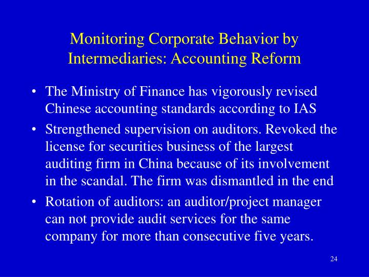 Monitoring Corporate Behavior by Intermediaries: