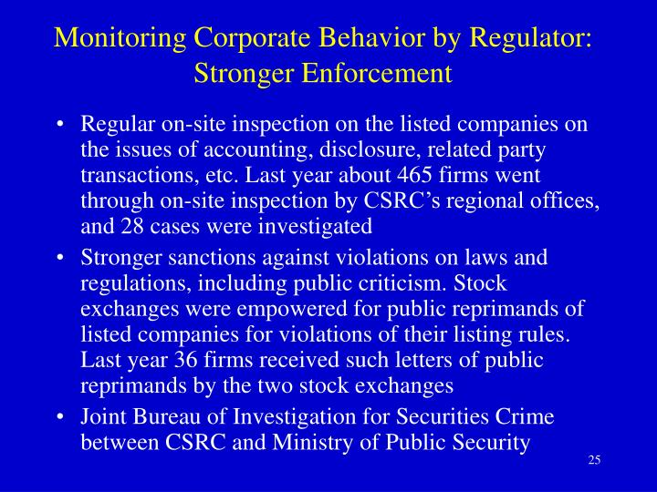 Monitoring Corporate Behavior by Regulator: