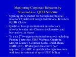monitoring corporate behavior by shareholders qfii scheme