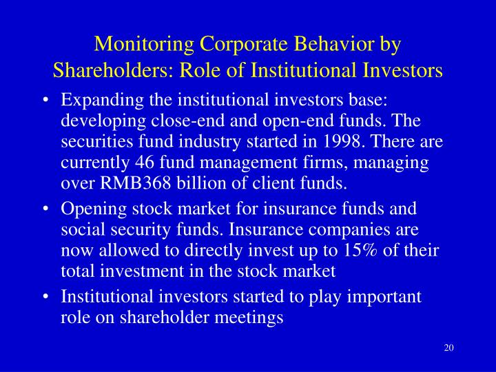Monitoring Corporate Behavior by Shareholders:
