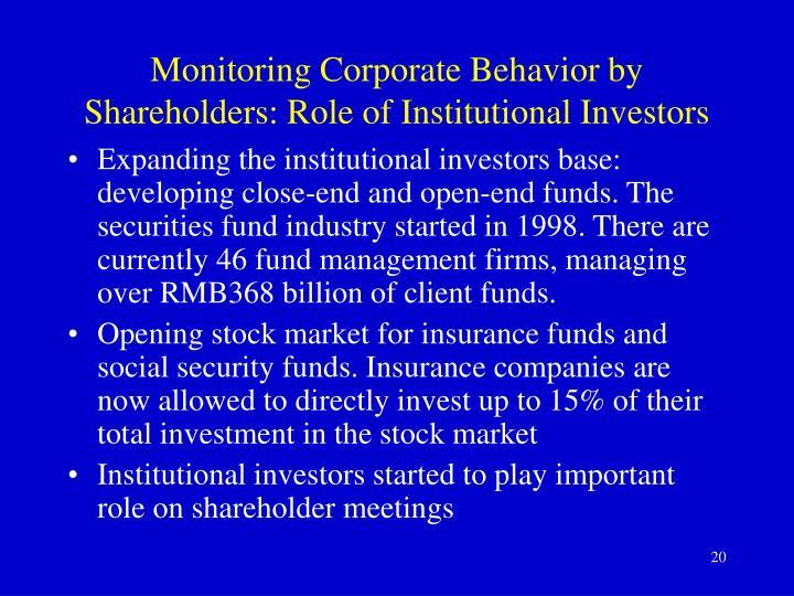 Monitoring Corporate Behavior by Shareholders: