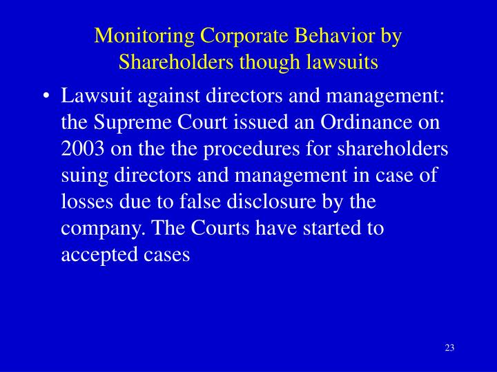 Monitoring Corporate Behavior by Shareholders though lawsuits