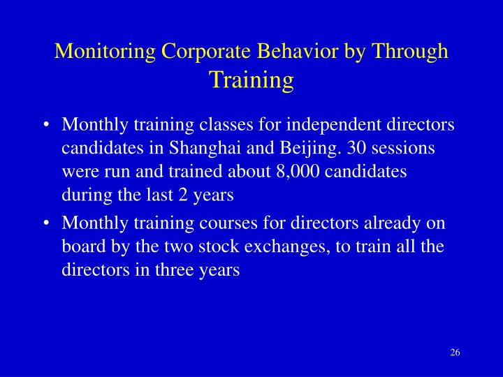 Monitoring Corporate Behavior by Through