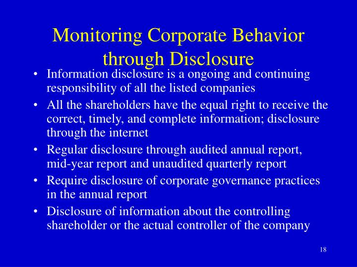 Monitoring Corporate Behavior through