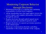 monitoring corporate behavior through disclosure