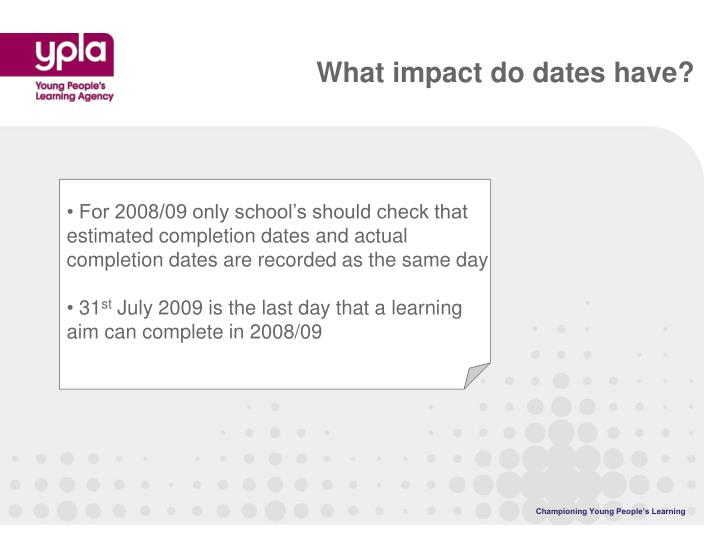 What impact do dates have?
