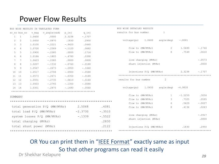 Power Flow Results
