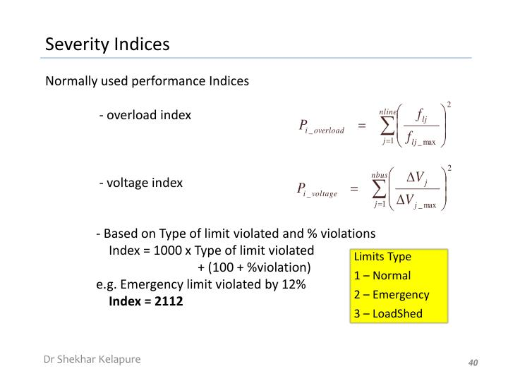 Normally used performance Indices