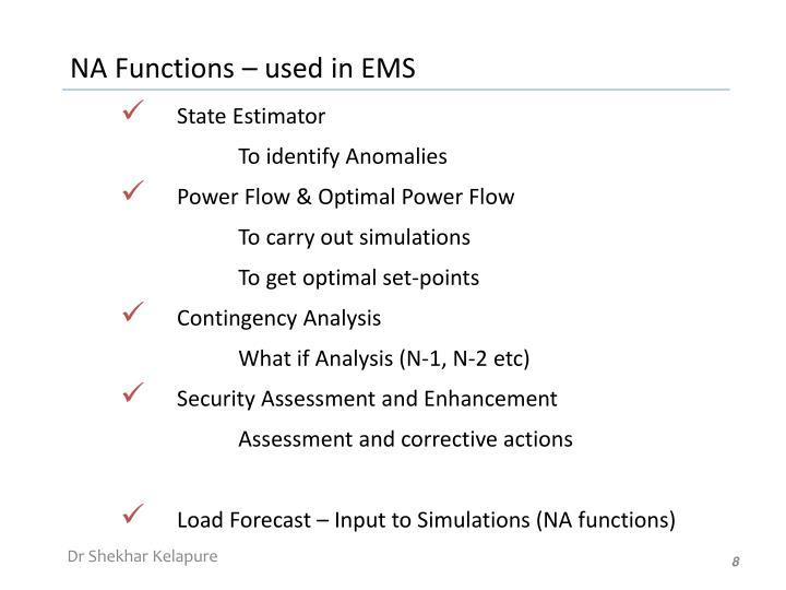 NA Functions – used in EMS