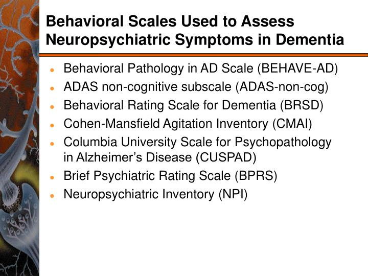 Behavioral Scales Used to Assess