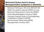 behavioral scales used to assess neuropsychiatric symptoms in dementia