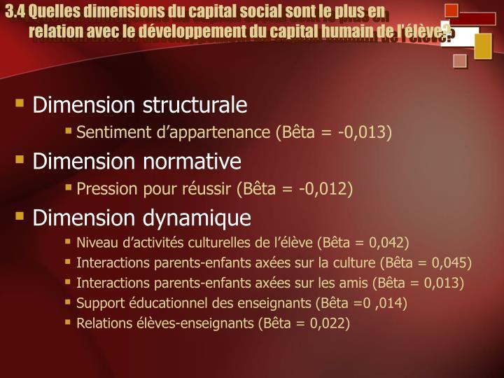 3.4 Quelles dimensions du capital social sont le plus en