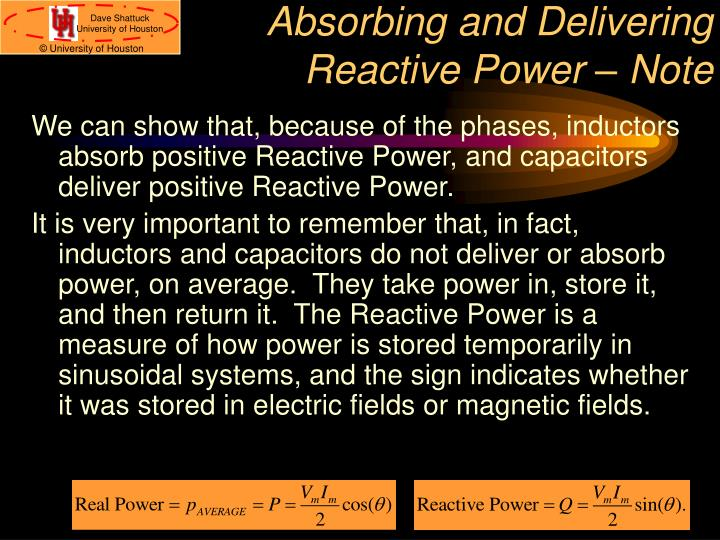 Absorbing and Delivering Reactive Power – Note