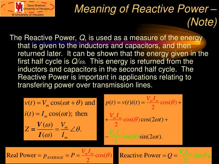 Meaning of Reactive Power – (Note)
