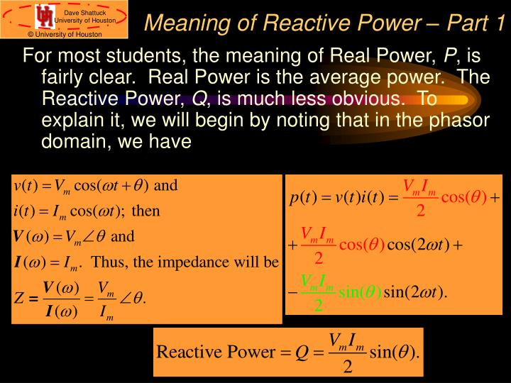 Meaning of Reactive Power – Part 1