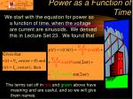 power as a function of time