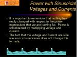 power with sinusoidal voltages and currents