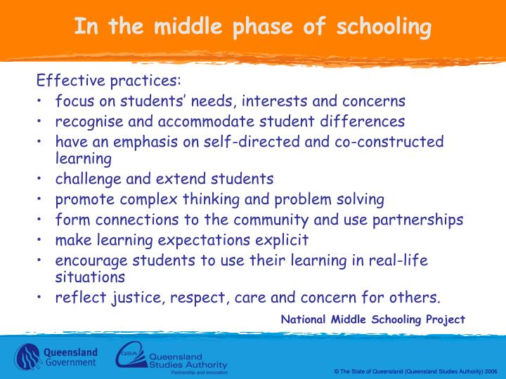 In the middle phase of schooling