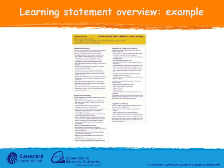 Learning statement overview: example