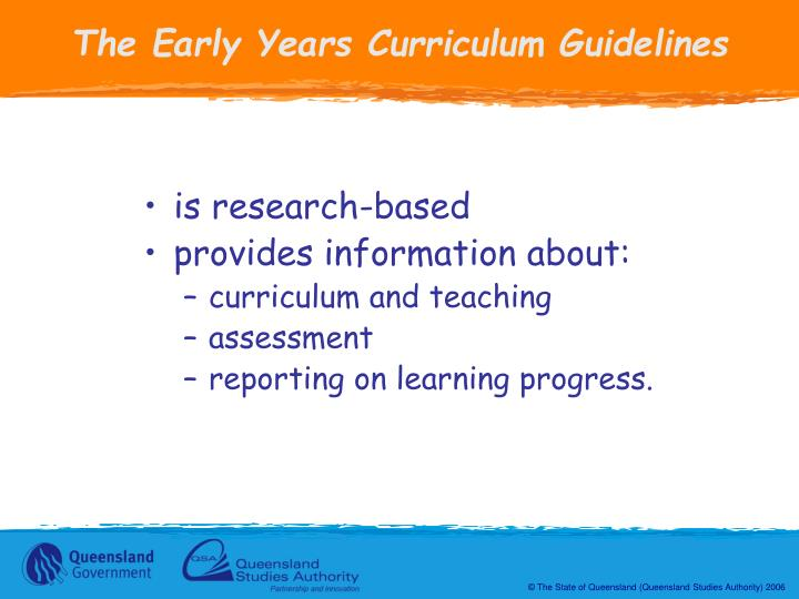 The Early Years Curriculum Guidelines