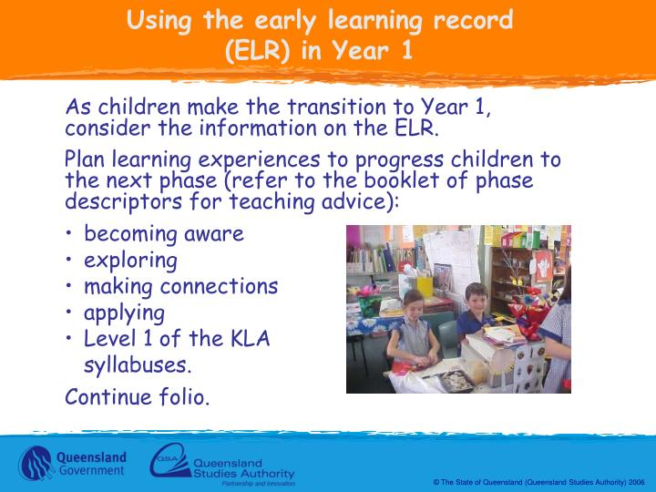 Using the early learning record (ELR) in Year 1