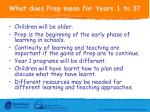 what does prep mean for years 1 to 3