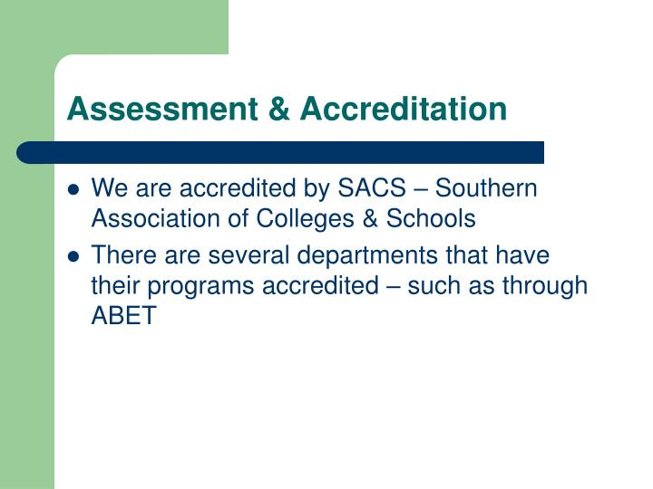 Assessment accreditation