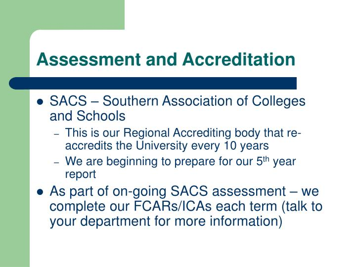 Assessment and accreditation