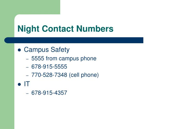 Night Contact Numbers