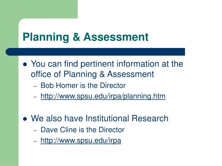 Planning & Assessment