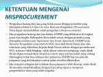ketentuan mengenai misprocurement