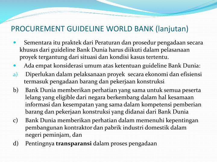 PROCUREMENT GUIDELINE WORLD BANK (lanjutan)