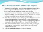 procurement guideline world bank lanjutan