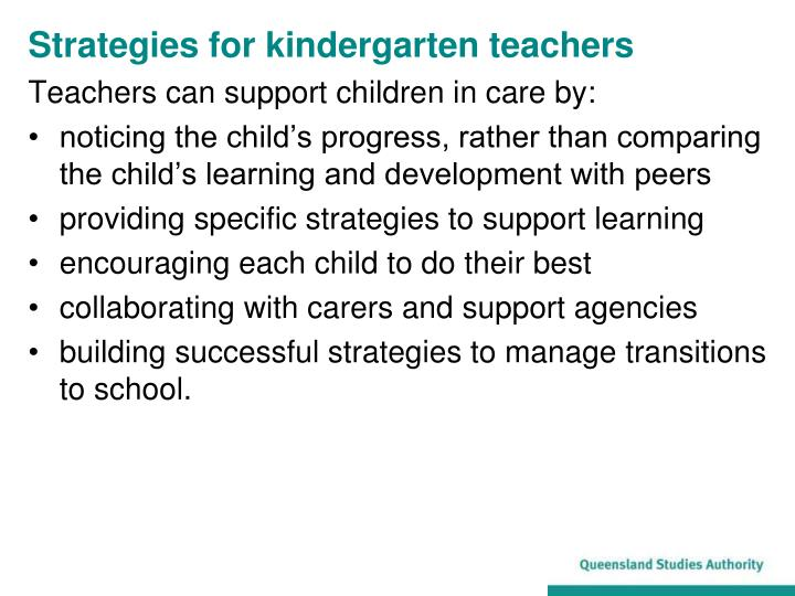 Strategies for kindergarten teachers