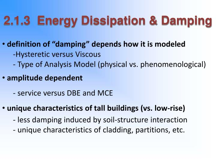 2.1.3  Energy Dissipation & Damping