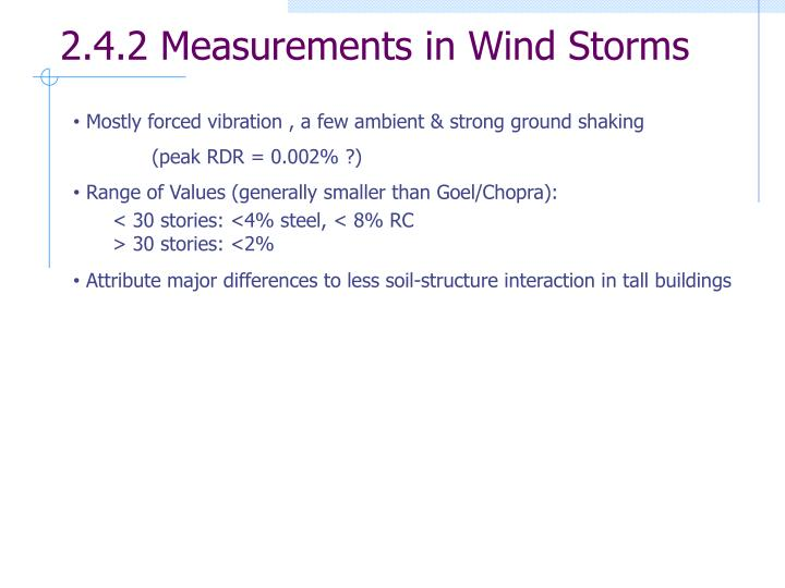 2.4.2 Measurements in Wind Storms