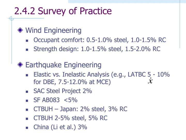 2.4.2 Survey of Practice