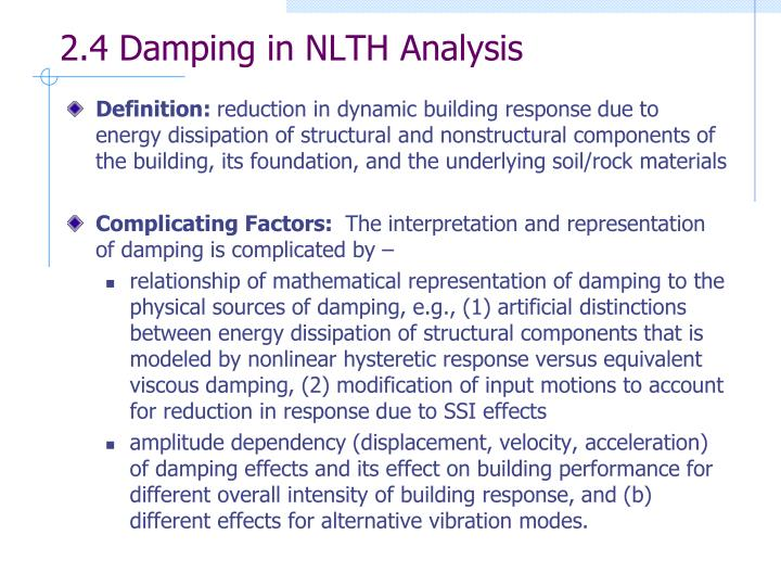 2.4 Damping in NLTH Analysis