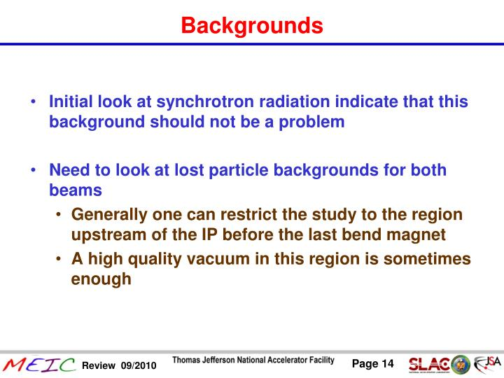 Initial look at synchrotron radiation indicate that this background should not be a problem