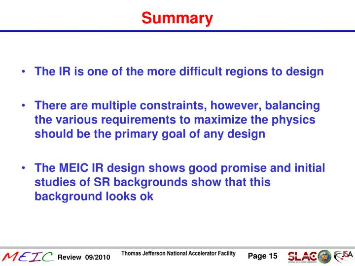 The IR is one of the more difficult regions to design