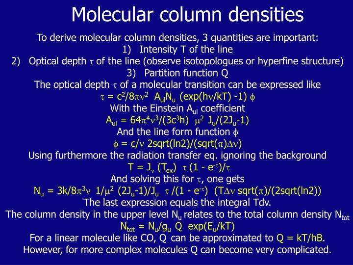 Molecular column densities