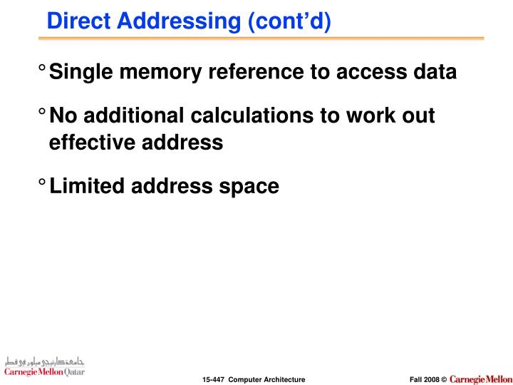 Direct Addressing (cont'd)