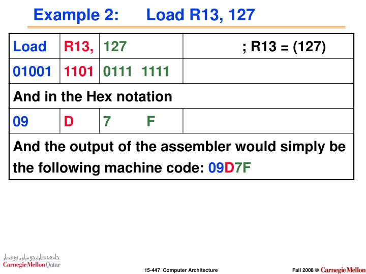 Example 2:      Load R13, 127